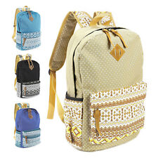 Womens Girls Canvas Vintage Backpack Rucksack College Shoulder School Bag