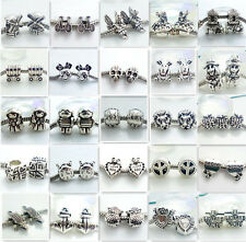 Wholesale 5pcs Silver Retro Tibetan Spacer Beads Fit European Charm Bracelet DIY