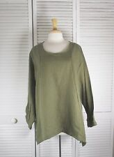 Stitch Flax Linen Long Sleeve Top  in 18 colors 1X 2X 3X 4X  Blue Fish Red Moon