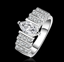 925 Sterling Silver Oval Zircon Crystal Wedding Engagement Ring Size O Q