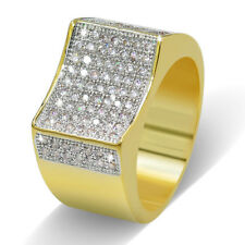 Men's Micro Pave 18K Gold Plated Lab Diamond Iced Out Ring