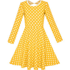 Girls Dress Yellow White Dot Back Cutout Back School Dress Size 4-10