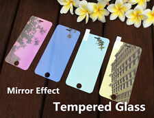 Colored Tempered Glass Reflective Mirror Screen Cover For iPhone 5 6 S 7 8/ Plus