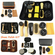Shoe Shine Care Kit Polish Cleaning Brushes Sponge Cloth Travel Set With Case