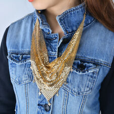 Fashion Sequins Triangle Scarf Choker Star Brooch Pendant Necklace Collar Chain
