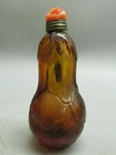 Chinese Peking Glass Carved Cabbage Shape Snuff Bottle