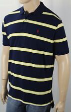Polo Ralph Lauren Navy Yellow White Striped Classic Fit Mesh Shirt Red Pony NWT