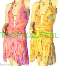 NEW Womens Pink/Yellow Rose Roses Floral Print Halter Dress Open Back Dresses