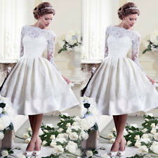 White Lace Formal Wedding Bridesmaid Bridal Dress Evening Party Ball Prom Gown