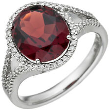 Ladies Ring with Garnet Red & 66 Diamonds Brilliants 585 Gold White Gold