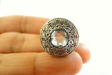 Round Blue Topaz Ornate Balinese 925 Sterling Silver Ring Size 8 9