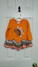 Girls Size 2T Bonnie Jean Orange Turkey Long Sleeve Tunic Top