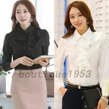 Office Work Ruffles Career Formal Business Button Down Shirt Blouse Top Casual