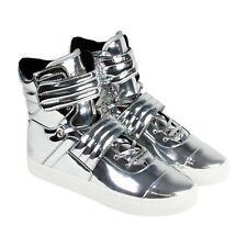 Radii FM1096 Mens Silver Leather High Top Strap Sneakers Shoes