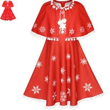 Flower Girl Dress Red Cape Cloak Christmas New Year Holiday Party Size 4-14