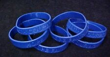 Dark Blue Awareness Bracelets 6 Piece Lot Silicone Wristband Cancer Cause New