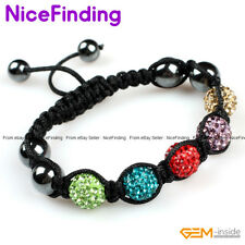 10mm Clay Rhinestone CZ Crystal Pave Disco Ball Adjustable Bracelet Jewelry Gift