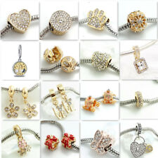 Hot 1pcs gold CZ European Charm Beads Fit 925 Necklace Bracelet Chain DIY