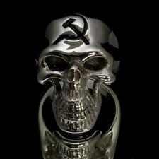 STERLING SILVER MENS RING COLD WAR SKULL USSR HAMMER AND SICKLE BLACK ANY SIZE