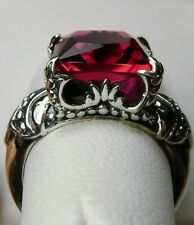 3ct *Red Ruby* Solid Sterling Silver Gothic Castle Filigree Ring {Made To Order}