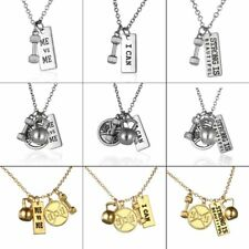 Weight Crossfit Barbell Fashion STRONG IS BEAUTIFUL Dumbbell Chain Gym Necklace