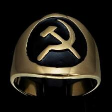 BRONZE MENS COSTUME COMMUNIST RING HAMMER AND SICKLE CCCP USSR BLACK ANY SIZE