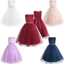 Lace Sequin Girl Kids Dress Flower Party Wedding Communion Formal Occasion Dress