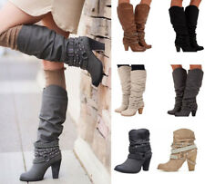 New Womens Buckle Slouch Mid-Calf Boots Ladies Block High Heel Boots Shoes Party