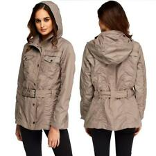Womens Winter Fashion Top Trench Coat Hooded Ladies Shower Proof Belted Jacket