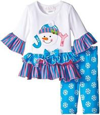 Bonnie Jean Girls Joy Snowman Christmas Holiday Tunic Leggings Outfit