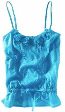 AEROPOSTALE ~ NWT NEW  Sz Large ~ Teal Flouce Floral Drop Waist Cami Top Shirt L