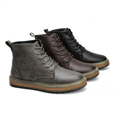 Men Leather Lace Up Punk Work Shoes Military Motorcycle Rock Martin Boots Ankle