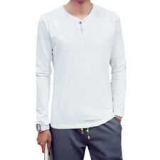 Men Y Neck Long Sleeve Stretchy Slim Fit Casual Tee Shirt