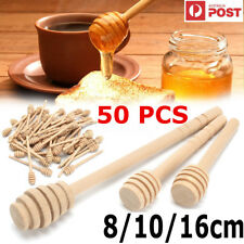 50PCS Wooden Jam Honey Dipper Wood Stirring Rod Stick Spoon Dip Drizzler