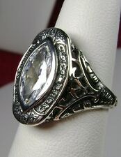 2.5ct Zirconia Gem Solid Sterling Silver Victorian Filigree Ring {Made To Order}