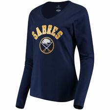Fanatics Branded Buffalo Sabres Women's Navy Arch Fitted Long Sleeve T-Shirt