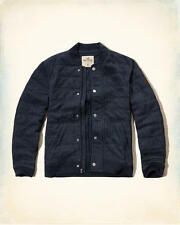 NWT Hollister-Abercrombie&Fitch Mens Quilted Textured Bomber Jacket M Navy