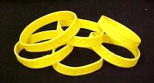 "Yellow Awareness Bracelets 6 Piece Lot Silicone Wristband Cancer Cause 8"" New"