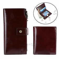 New Mens Genuine Leather Wallet Coin Pocket Long Bifold Purse Vintage Style US