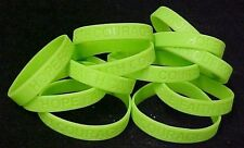 Lime Green Awareness Bracelets 100 Piece Lot Silicone Wristband Cancer Cause New