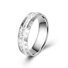 New Womens Mens Stainless Steel Ring Wedding Band crystal Gifts Free Shipping