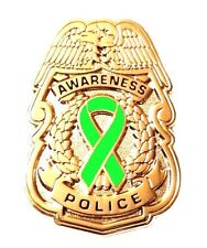 Lime Awareness Ribbon Pin Police Badge Security Sheriff Cancer Causes Gold New