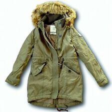 NWT Abercrombie&Fitch Women's Sherpa-Lined Military Parka Jacket Fur S M Olive