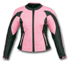 Womens New  Pink Black Armored Leather Motorcycle Biker Jacket Zip out lining