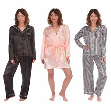 Ladies Satin Silk Pyjama Set Silky Lounge Pajamas Dressing Gown Robe Summer New