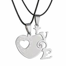 2pcs Charm His and Hers Stainless Steel I Love You Heart Couple Pendant Necklace