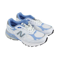New Balance W990 Womens White Leather & Mesh Athletic Lace Up Running Shoes