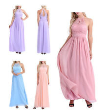 Lace Chiffon Long Halter Bridesmaid Dress Formal Prom Gown Women Party dresses
