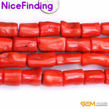 """Column Red Coral Stone Beads For Jewelry Making Loose Beads Strand 15"""""""