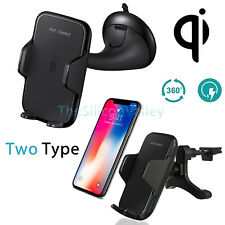 Fast Qi Wireless Car Charger Mount Holder Stand for Samsung Note8 S8 iPhone X 8+
